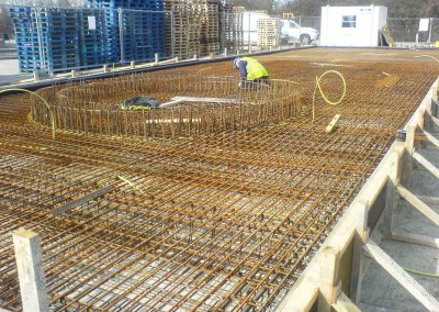 Reinforced concrete base to an industrial unit, Gloucestershire